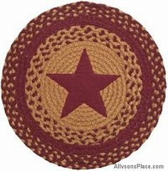 Star Wine Braided Accent Mat  195-TA/  Like us on Facebook! www.facebook.com/allysonsplacedecor / #Primitive / #Country