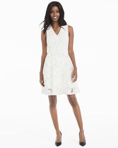 """There's nothing like an all-over lace fit-and-flare dress to pretty up your spring wardrobe. We crafted our latest white version with a flattering V-neck and intricate floral lace, so it's ideal for everything from Sunday brunches to after-work dinners—just add killer heels and you're set to go.  White sleeveless lace fit-and-flare dress Floral lace motif V-neck; hidden back zip with hook-and-eye closure Lined Approx. 37"""" from shoulder; hits above knee Polyester. Machine wash cold. Imported"""