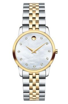 Movado 'Museum' Diamond Dial Bracelet Watch, 28mm available at #Nordstrom