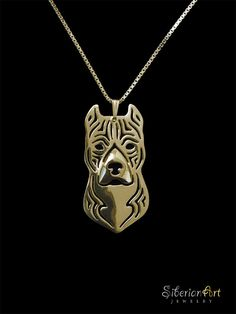 American Staffordshire Terrier gold vermeil by SiberianArtJewelry, $120.00 in white gold please