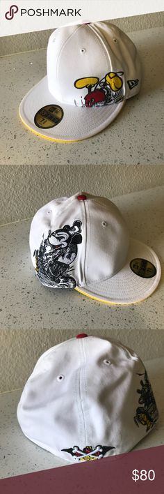 Mickey Mouse collection New era hat Bloc 28 Bloc 28 by Disney New era authentic Mickey mouse hat size 7 3/8 colors white and yellow , great condition , no box New Era Accessories Hats