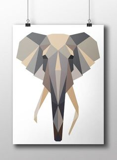 The elephant is part of the geometric collection. Gorgeous. Scandinavian style. Printer on uncoated Munken Polar paper that gives it a beautiful matte surface. Choose between sizes 50x70 cm or 30x42 cm. Ships worldwide. PAPIIR.com