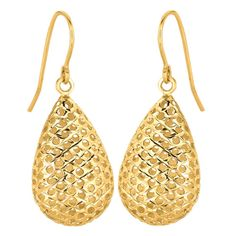 Ebay NissoniJewelry presents - 14K Yellow Gold Shiny Large Meshed Teardrop Shape Drop Earrings    Model Number:ER1085    http://www.ebay.com/itm/14K-Yellow-Gold-Shiny-Large-Meshed-Teardrop-Shape-Drop-Earrings/321612192471
