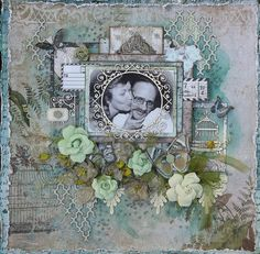 Scraps of Darkness scrapbook kits: Kathy Mosher created this beautiful shabby chic vintage / heritage love layout using our May 2016 Scraps Of Darkness kit 'Soulshine'. Subscribe to our kits and get a new box of mixed media scrapbooking fun in the mail each month! www.scrapsofdarkness.com
