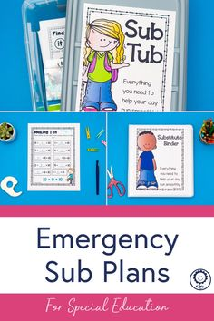 This emergency sub plan kit has everything you need to ensure your school day runs smoothly while you're gone. Planning for substitutes can be harder than just coming into work sick. However, with this set, you will have no-prep, print and go, reading, writing, math, science, and art activities that make sure your kids are still learning while you get the rest you need. #subplans #specialed