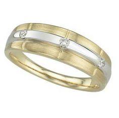 0.1 Carat Diamond 14K Yellow Gold Anniversary Wedding Band Rings 3.69g: Ring Size: Sizable