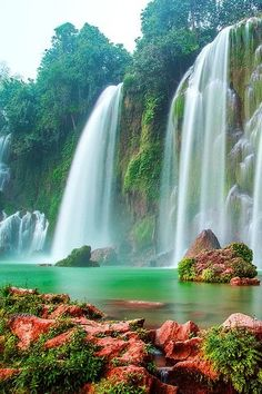 Beautiful falls, colourful rocks, scenic Hanoi, Vietnam