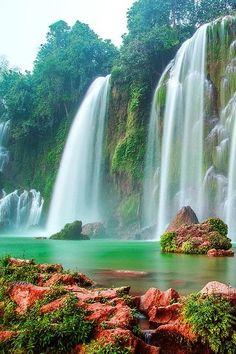 Beautiful falls, colourful rocks, scenic Hanoi, Vietnam