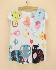 Many cats print tees woman summer t-shirt 2015 newest design short sleeve tops plus size dress for women discount wholesale
