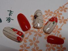 椿 Fancy Nails Designs, Classy Nail Designs, Colorful Nail Designs, Nail Polish Designs, Asian Nail Art, Asian Nails, Classy Acrylic Nails, New Years Nail Art, Line Nail Art