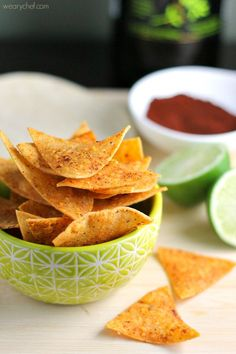 Chili Lime Baked Chips - Born to Be Dipped - The Weary Chef