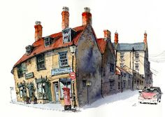 Sherborne, Dorset by wanstrow Pen And Watercolor, Watercolor Landscape, Watercolor Paintings, Watercolours, Watercolor Architecture, Art And Architecture, Chris Lee, City Sketch, Building Sketch