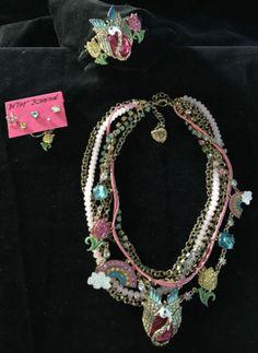 Betsey-Johnson-Pink-Swan-Rainbow-Fairy-Tale-Necklace-Bracelet-Earrings