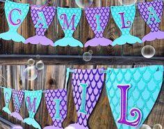 name banner for mermaid party Mermaid Theme Birthday, Little Mermaid Birthday, Little Mermaid Parties, Mermaid Themed Party, Mermaid Baby Showers, Baby Mermaid, Mermaid Tails, Baby Shower Mermaid Theme, Mermaid Scales