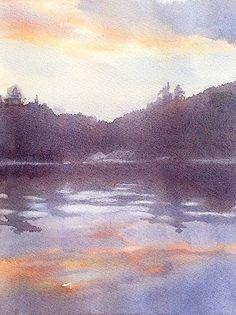 Across The Lake by Sarah Yeoman Watercolor ~ 16 x 12