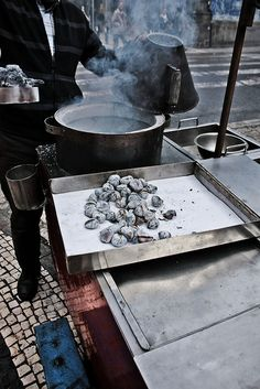 Traditional roasted chestnuts street vendor. #Portugal #autumn #fall #winter #fall_in_portugal