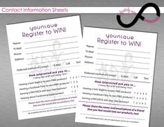 Younique Contact Info form. Younique Register To Win sheet. Younique Notepad. Younique Vendor Event Form. Check out this item in my Etsy shop https://www.etsy.com/listing/293896353/younique-contact-information-form