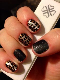 Jamberry Nail Wraps - Gilded Leopard and Midnight Sky. Click the image to shop http://sharlaschoen.jamberrynails.net/