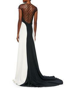 Lela Rose Beaded Sheer-Back Colorblock Gown, Black/Ivory