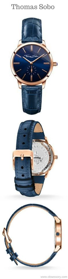 Thomas Sobo Ladies Eternal Blue Watch.  Timeless elegance as a result of combining the trend colours rose and blue! With its classically-smart design, this model is all about understatement. The blue crocodile-embossed leather strap harmonises perfectly with the blue sunray finish dial. Highlight is the crown featuring lapis lazuli. #ThomasSabo #Blue #Watches #TheJewelHut #Women #fashion #obsessory #fashion #lifestyle #style #myobsession