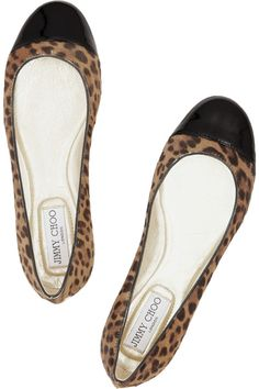 8e53b03e493 Jimmy Choo - Leopard-print pony and patent-leather ballet flats