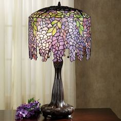 Purple Wisteria Stained Glass Lamp