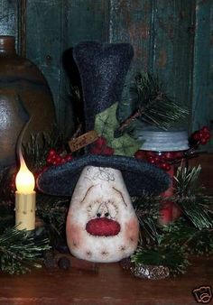 Ratties primitivo muñeco de nieve Navidad Frosty por pattisratties