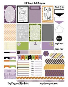 Free Printable Purple Fall Sampler for the MAMBI Happy Planner