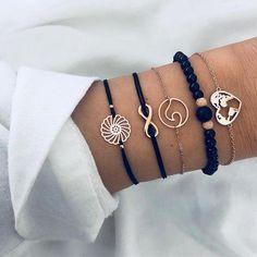 Bohemian Bracelets, Black Bracelets, Fashion Bracelets, Fashion Earrings, Fashion Jewelry, Tassel Bracelet, Bracelet Set, Bangle Bracelets, Pearl Bracelet