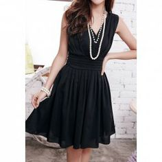 Criss-Cross Beam Waist Ruffles Chiffon Solid Color Dress For Women