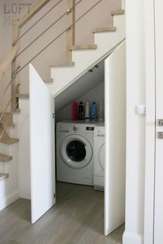 23 Creative Powder And Laundry Room Ideas Under Stairs Plushemisphere Understairs Storage CREATIVE Ideas Laundry Plushemisphere Powder room stairs Small Staircase, Staircase Storage, Stair Storage, Staircase Design, Spiral Staircases, Storage Under Stairs, Under Staircase Ideas, Small Laundry Space, Hidden Laundry
