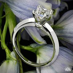"""Simply elegant in style, """"Classic Knife-Edge' Solitaire Engagement Ring for Princess Cut Diamonds"""