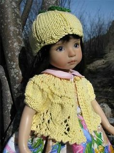 """Yellow Sweater Tulip Hat by Tuula Fits 13"""" Effner Little Darling to A """"T""""   eBay. Ends 4/5/14. Start bid $52.99 or BIN $69.99. Sold for $52.99."""