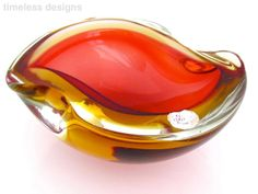 Space Age Murano Sommerso Cranberry/Amber Geode Art Glass Ashtray 1960s & Label
