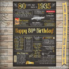 80th Birthday Gift 1935 Instant Download Printable Chalkboard Poster Sign, 80th Birthday Poster, 80 Years Ago USA Events, Born in 1935 {PRINTS} by MA Design  https://www.etsy.com/listing/252912775/80th-birthday-gift-1935-instant-download