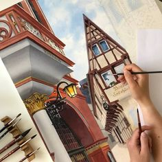 """""""Lost in a fairy tale"""" Bernkastel-Kues, Germany Painting Realism Art, City Style, Present Day, Big Ben, Paper Art, Fairy Tales, Saatchi Art, Cities, Irish"""