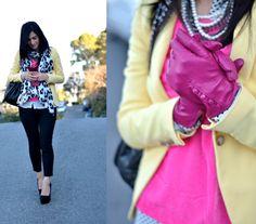 zara yellow blazer, pink velvet top, j crew minnie pant, patterns, layers -  pink gloves - iheartvintagecouture