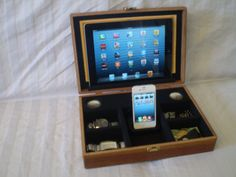 iPhone 4, iPhone 5, iPad, iPad Mini Wooden Box Docking Station / Organizer / Valet with Built in Speakers on Etsy, $63.43