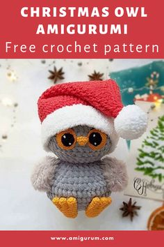 Owl Crochet Patterns, Owl Patterns, Amigurumi Patterns, Knitting Patterns, Free Christmas Crochet Patterns, Knitting Toys, Crochet Christmas Decorations, Crochet Ornaments, Holiday Crochet