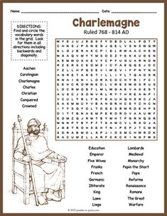 No Prep Medieval History - Charlemagne Word Search FUN by Puzzles to Print Bullet Journal 50 Page Ideas, Free Printable Puzzles, Architecture Quotes, History For Kids, Education Humor, Grammar Lessons, Fun Activities For Kids, Your Teacher, Vocabulary Words