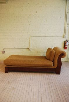 FOR SALE: Vtg Cushion Upholstered Wood Chaise Longue Long Chair Fainting Couch Sofa Seat