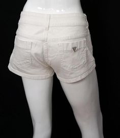 Women White Guess Jeans Short Shorts Low Rise Cotton Blend Stretch sz 28 #GUESS #CasualShorts #Summer
