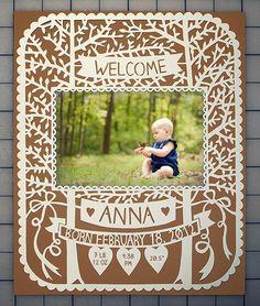 Handcut Custom Papercut - ORIGINAL - Baby Frame with Custom Name and Date - 8x10. $70.00, via Etsy.
