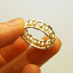 Woven Ring with Pearls