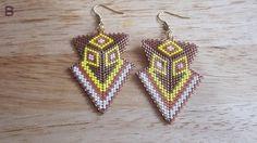 Brown, yellow, white, & copper peyote stitch arrowhead earrings
