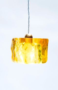 Daisy Ceiling Pendant Light Cube / HandMade / Yellow Epoxy Cube  by #AyaandJohn Aya and John create outstanding light fixtures, that are produced by expert designers and artisans. For product information email info@ayaandjohn.com