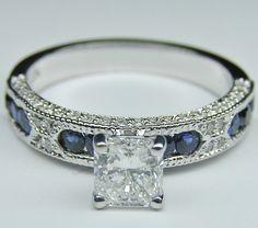 Radiant Cut Diamond Vintage Engagement Ring Blue-Sapphire Accents