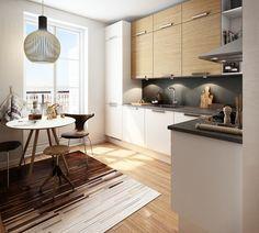 Køkken i model Struktur Hvid Eg / Dekor Glat Hvid