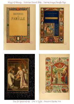 WIngs of Whimsy: Illuminated Victorian French Bible - Les Evangiles 1864 - Sample Page #vintage #victorian #ephemera #pintableEvangilesVario...