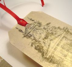 Architecture gift tags with gold wash